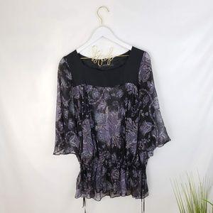 Zara Floral/Paisley Print Silk Sheer Top Large